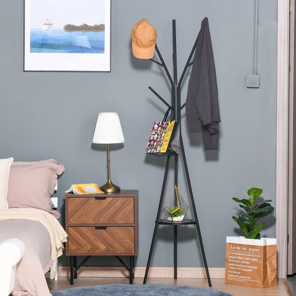 """HOMCOM 71"""" Metal Free Standing Coat Rack Hat Hanger Garment Holder 9 Hooks with Shelf Entryway Hall Tree Stand for Clothes Hat Scarves Black 