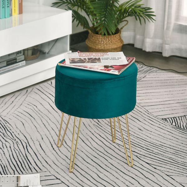HOMCOM Round Linen Storage Ottoman Footstool Seat Chair Tray Top Table Green