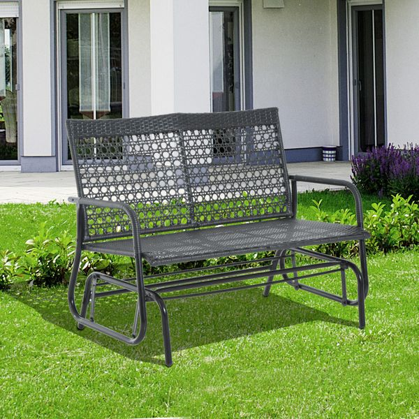 "Outsunny 30"" x 47"" x 35"" Wicker Glider Swing Chair Patio Garden Bench Outdoor