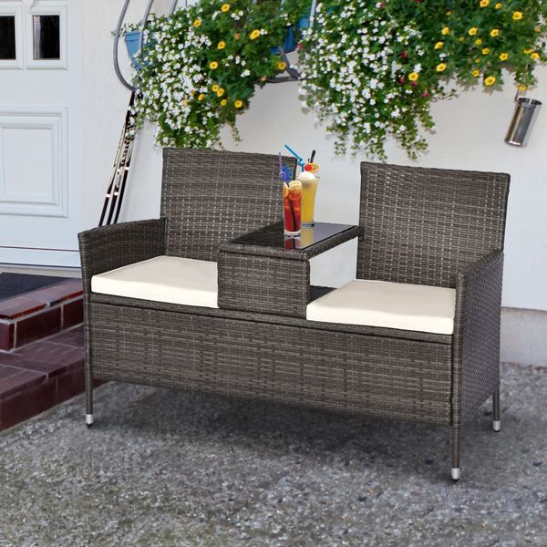 Outsunny 2 Seat Rattan Wicker Chair with Cushion Garden Bench with Tea Table Backyard All Weather Padded Seat Grey