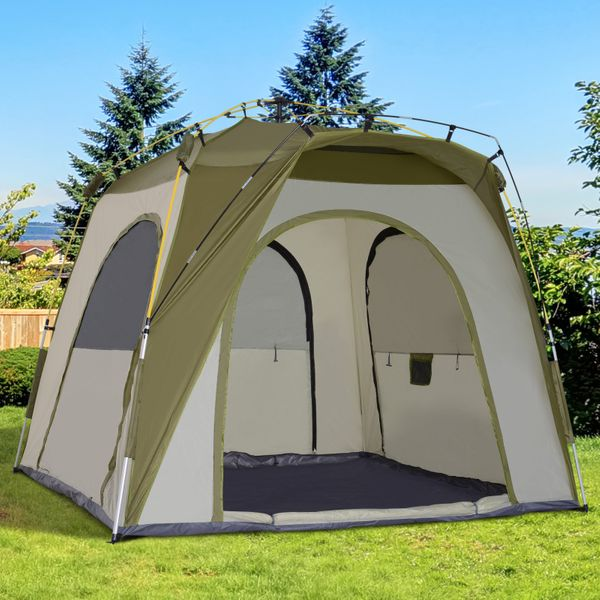 Outsunny waterproof and strong aluminum 3-SEASON TENT Instant Automatic Camping Tent Outdoor Easy Pop Up Tent Portable Backpacking Dome Shelter 2-5 Person Green | Aosom Canada
