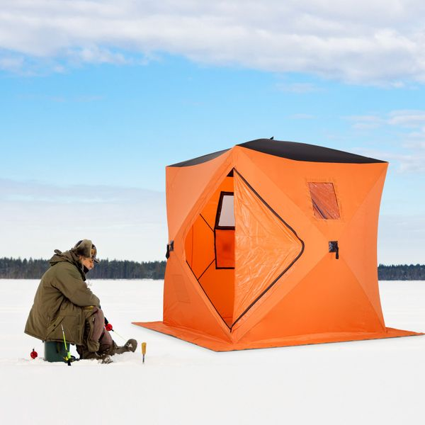 Outsunny Portable 4-Person Ice Fishing Tent Shelter with Ventilation Windows and Carry Bag Orange | Aosom Canada