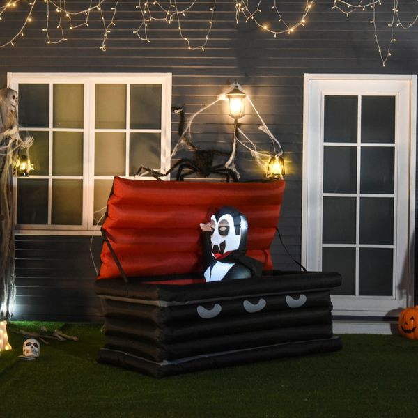 HOMCOM 6' Halloween Inflatable Vampire Emerging from Giant Coffin Holiday Yard Lawn Decoration with LED Lights Indoor Outdoor Blow Up Decor Lighted   Aosom Canada