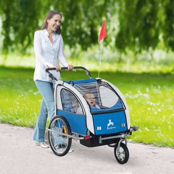 Aosom 2-IN-1 Double Baby Bike Trailer Child Carrier Stroller Jogger Bicycle Trailer Foldable Blue | Aosom Canada