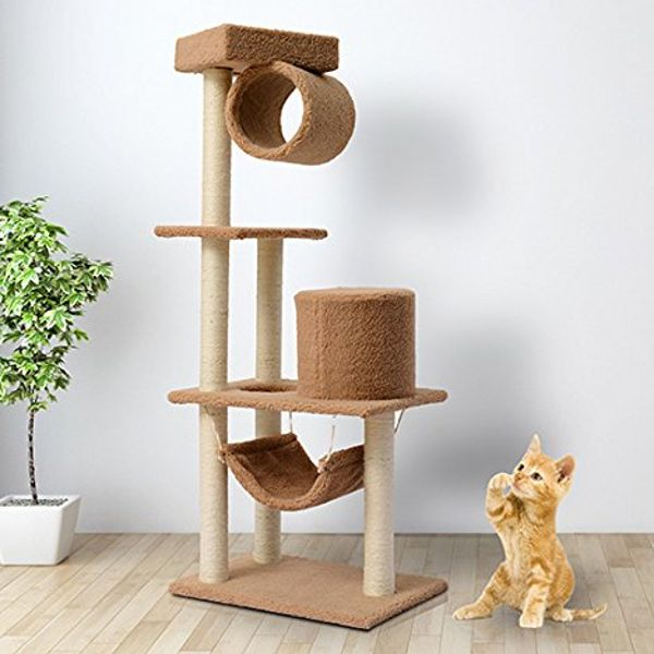 PawHut 55-Inch Cat Tree Pet Scratching Post Furniture With Hammock Coffee | Aosom Canada