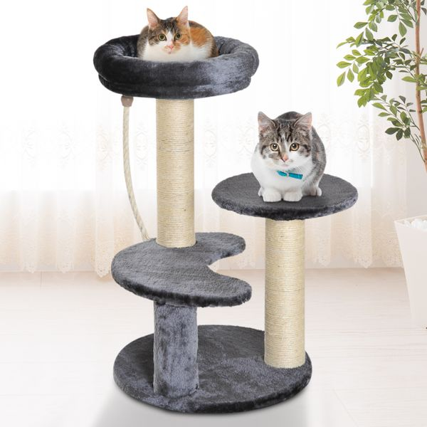 "PawHut 26"" Cat Scratching Tree Condo Furniture Kitty Playhouse Activity Center with scratching posts 2 Perch w/ Sisal Rope Grey
