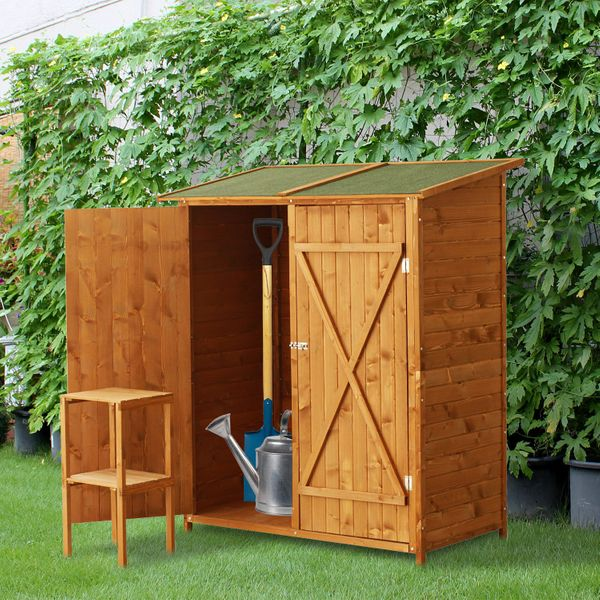 Outsunny Large Patio Storage Shed Wood Cabinet Box Two Doors Yard Garden|Aosom Canada