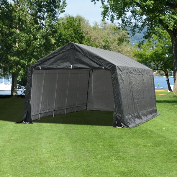 Outsunny 20' x 12' Outdoor Temporary Carport Canopy Tent with Durable Construction & a Simple Setup - Grey 20x12ft Storage Shelter w/ Sidewall | Aosom Canada