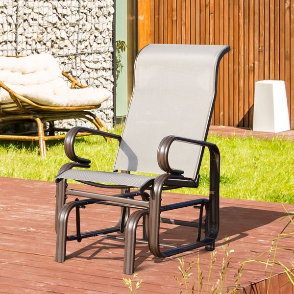 Outsunny Garden Gliding Chair Porch Furniture Rocking Seat Outdoor Swing Patio Deck Bench | Aosom Canada