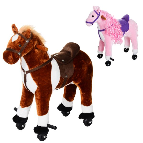 Qaba Ride on Walking Horse Neigh Sound Age 3+ w/ Wheel|Aosom Canada