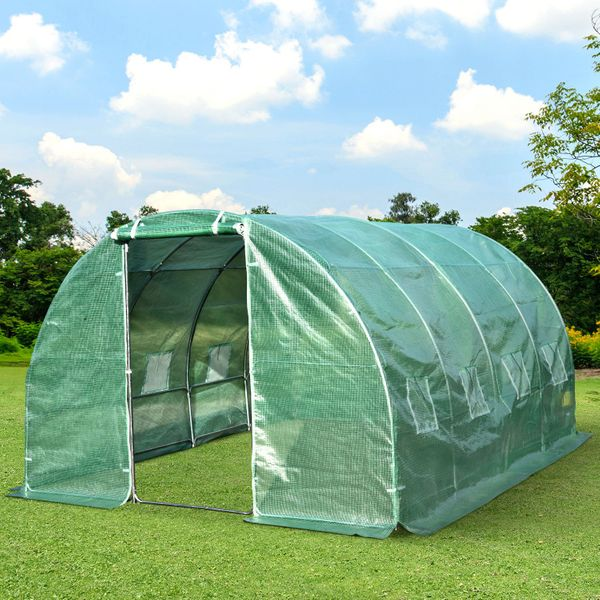 Outsunny Walk-in Tunnel Greenhouse Outdoor Rolled-up windows|AOSOM.CA