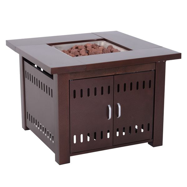 "Outsunny 38"" Square Gas Fire Pit Table 40 000 BTUs