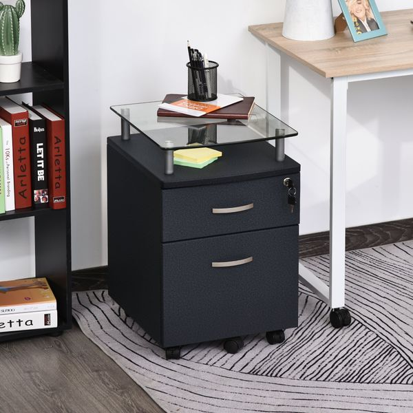 HOMCOM 2-Drawer File Cabinet Lockable Movable with 1 Extra Caster Underdesk Fits A4 Letter Size Folder Black E1 MDF Mobile | Aosom Canada