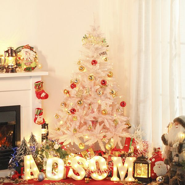 HOMCOM 6ft Artificial Christmas Tree Home Decoration Automatic Open  White and Pink
