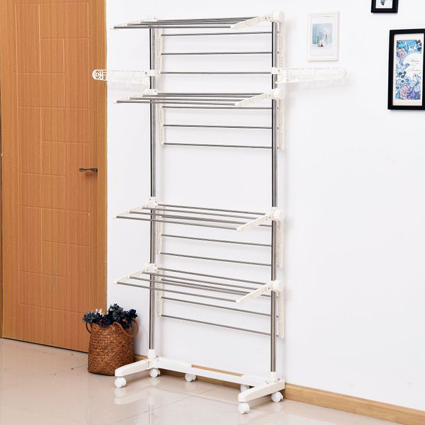 HOMCOM 4 Layers Folding Clothes Hanger Stand Dryer Storage Towel Rack Rolling