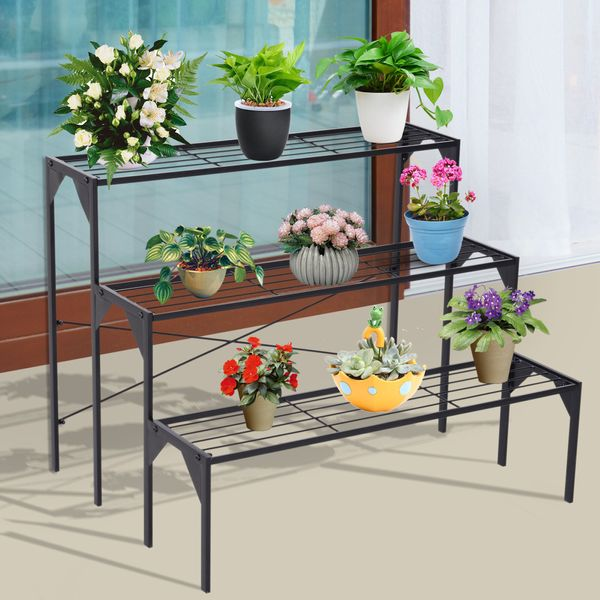Outsunny 3 Tier Flower Plant Display Stand Metal Frame | Aosom Canada