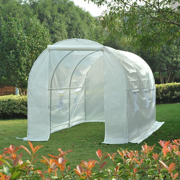 Outsunny 14.8'x6.6'x6.6' Walk-in Tunnel Greenhouse Portable Garden Plant Growing House with Door and Ventilation Window White Aosom.ca