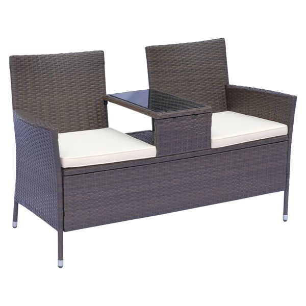 Outsunny 2 Seat Rattan Wicker Chair Bench with Tea Table Cushioned Seat All Weather Outdoor | Aosom Canada