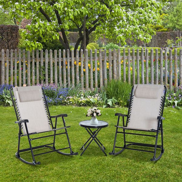 Outsunny Outdoor Rocking Chair Patio Table Seating Set Rocker Bistro Sling Mesh Lounger Coffee Desk Cream White