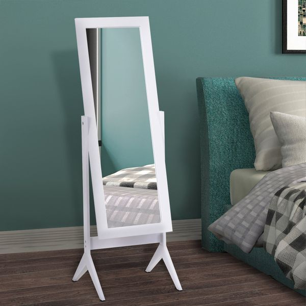 HOMCOM Free-standing Full-length Jewelry Dressing Mirror Angle Adjustable Living Room Bedroom  White|AOSOM.CA