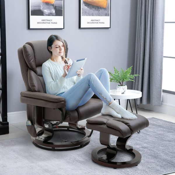 HOMCOM Massage Sofa Recliner Chair PU Leather with Footrest 10 Vibration Point Faux Brown | Aosom Canada