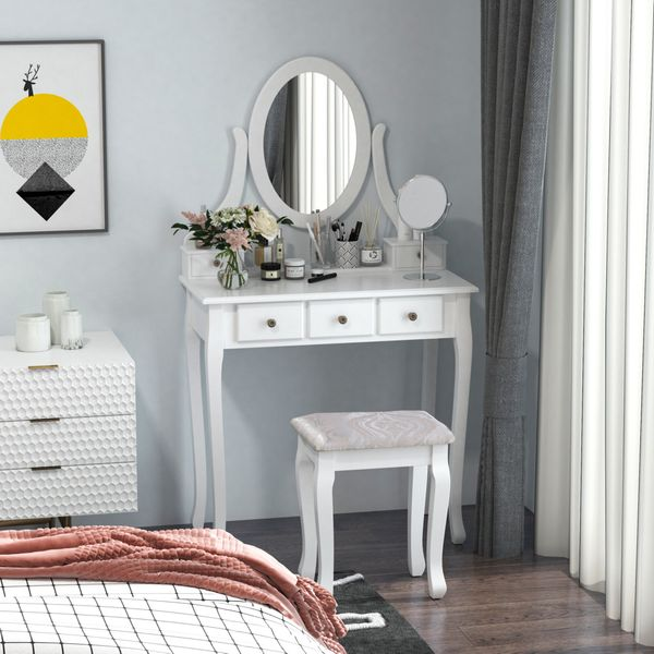 HOMCOM Wooden Vanity Table Set, Makeup Dressing Table with 360° Rotating, 5 Drawers and Padded Stool, White
