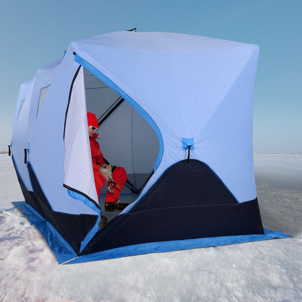 Outsunny Portable 8-Person Ice Fishing Tent Shelter with Ventilation Windows and Carry Bag Light blue Navy|Aosom Canada