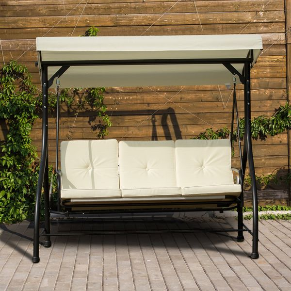 Outsunny 3 Seater Patio Swing Chair Convertible Cushioned Bed Outdoor Porch with Canopy Beige Gazebo w/ | Aosom Canada
