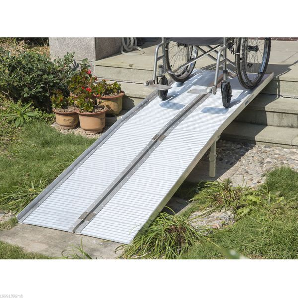 HOMCOM 8.1ft Wheelchair Ramp with Carrying Handle Aluminum Alloy