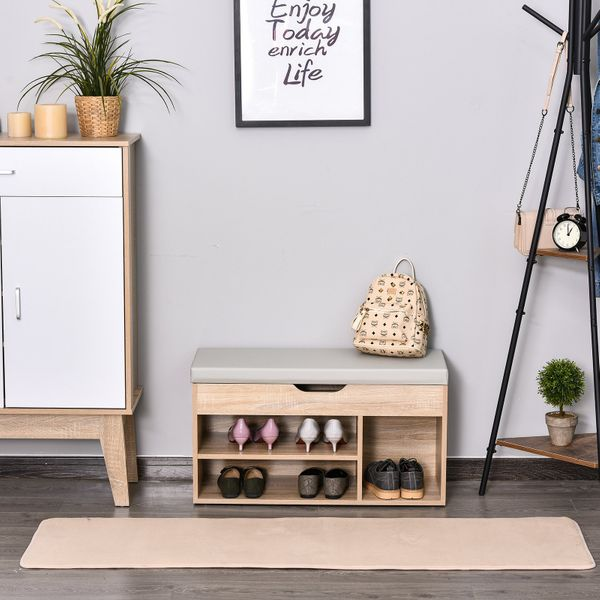 HOMCOM 2in 1 Shoe Bench 2-Tier and Shoe Rack With Locker Sponge For Hallway Entryway Living Room Grey 4 Compartment MDF | Aosom Canada