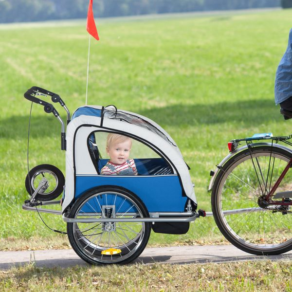 Aosom 2-IN-1 Double Baby Bike Trailer Child Carrier Stroller Jogger Bicycle Trailer Foldable Blue   Aosom Canada