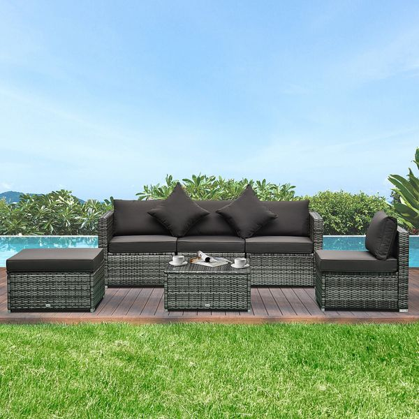 Outsunny 6 Piece Outdoor PE Rattan Wicker Sectional Sofa Deluxe Furniture Set Grey