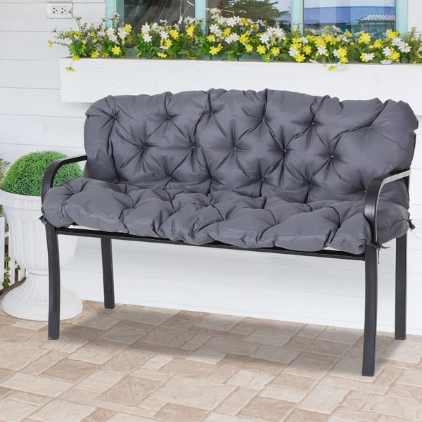 Outsunny Outdoor 2 Persons Swing Chair Replacement Seat Pad Cushion Garden Patio Bench Grey  Padding|AOSOM.CA