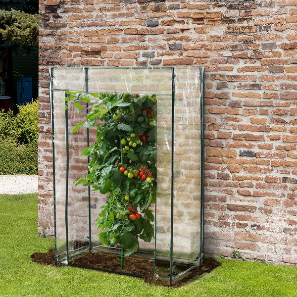 Outsunny Walk-in Garden Greenhouse with Durable Frame Outdoor Garden Tomato Plant House w/ Roll up Door Transparent PVC