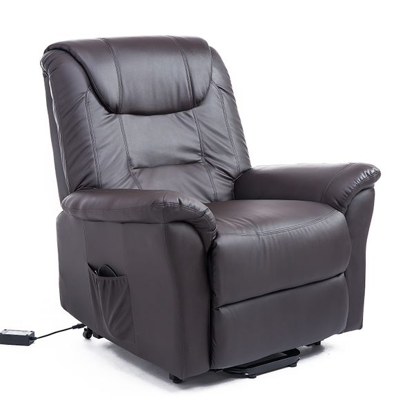 HOMCOM Leathered Electric Lift Chair Elder People w/ Remote Brown|Aosom Canada