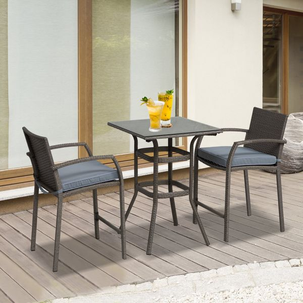 Outsunny 3 Piece Outdoor PE Rattan Wicker Bar Table Stool Bistro Set Outunny Furniture | Aosom Canada