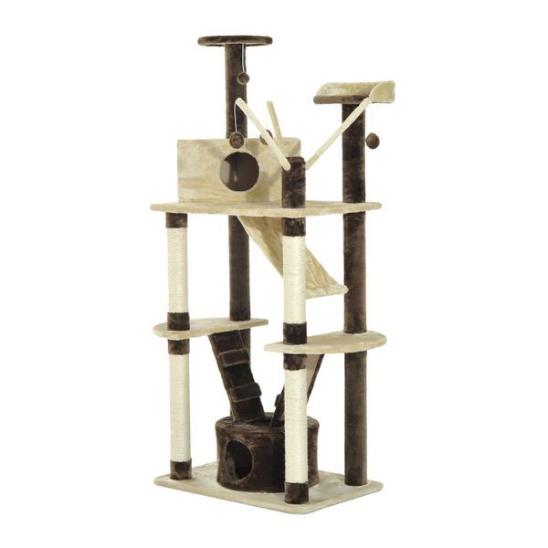 PawHut 71-inch Multilevel Condo Cat Tree Scratching House Kitten Pet Play Center Tower Ladder Aosom Canada