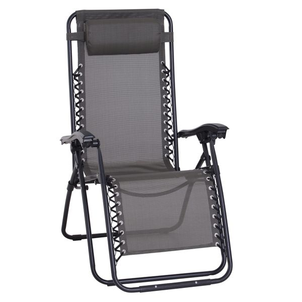 Outsunny Zero Gravity Lounger Adjustable Patio Lounge Chair Foldable Reclining Seat Outdoor Garden Portable Recliner Grey | Aosom Canada