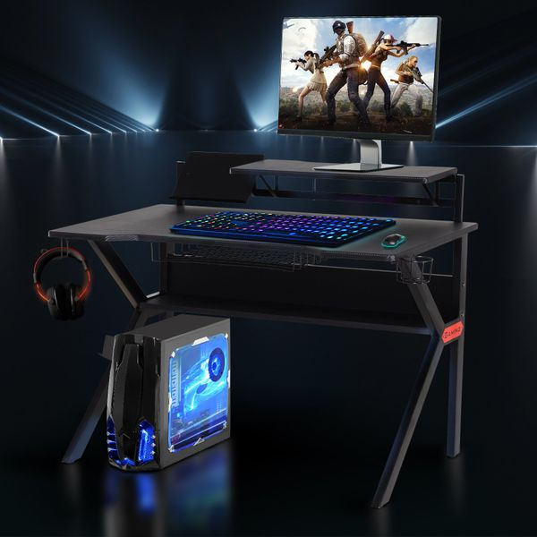 HOMCOM Gaming Desk Computer Table  for Gamer with Cup Holder  Headphone Hook and Surge Protector Basket