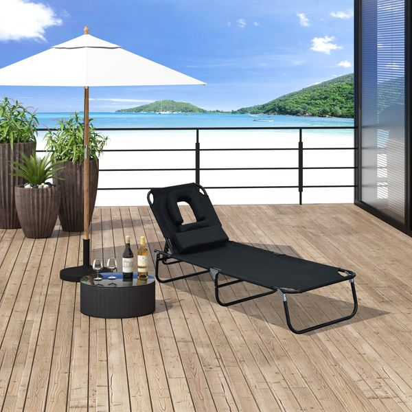 Outsunny Adjustable Chaise Lounge with Face Cavity Folding Outdoor Beach Camping Black