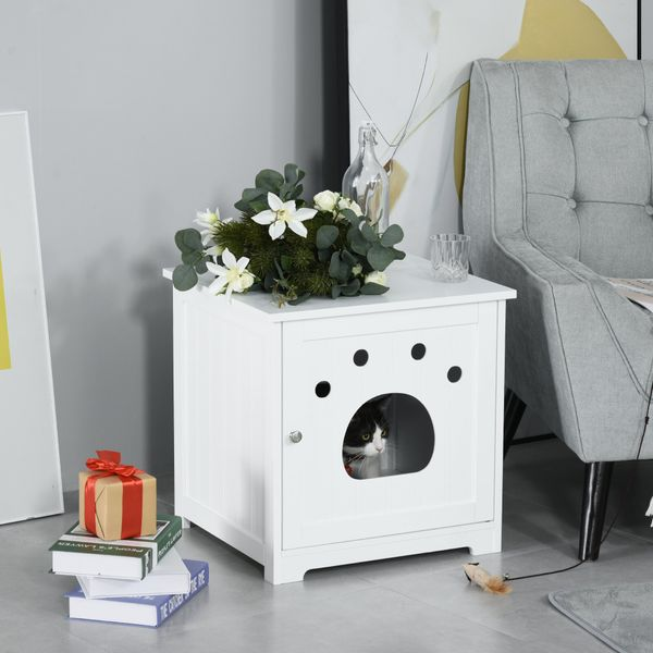 PawHut Wooden Cat Washroom Pet Litter Box Enclosure Kitten House Nightstand End Table Hideaway Cabinet with Magnetic Doors White