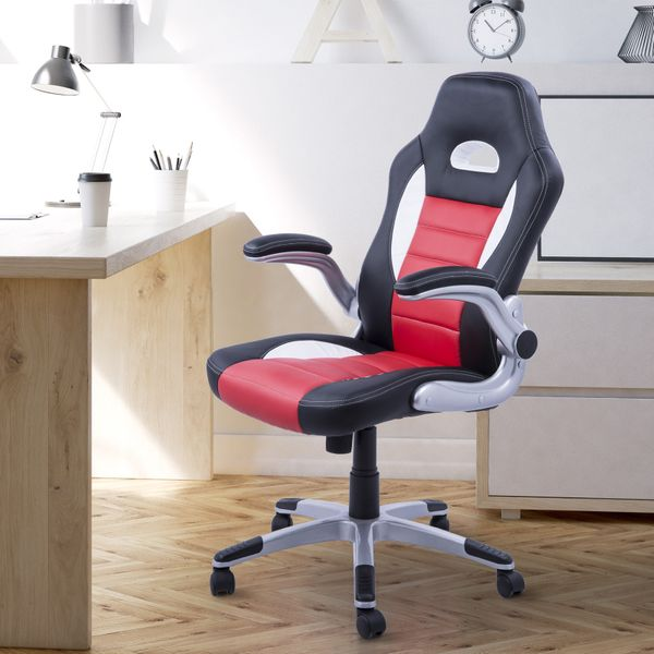 HOMCOM Gaming Chair w/ Adjustable Armrest Swivel Office Racing Car Excutive Seat PU Leather Computer Chair  Red | Aosom Canada