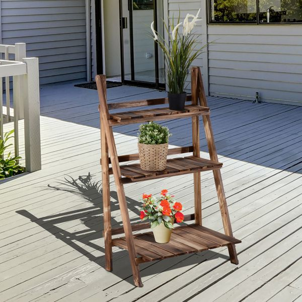 """Outsunny Wooden Rustic 3-Tier Foldable Ladder Raised Plant Stand with Slatted Bottom & a Natural Stylish Design  23.75"""" x 14.25"""" 3 Tier Ladder-style Patio 