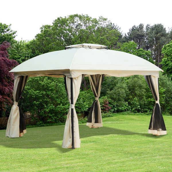 Outsunny 10x12ft Patio Gazebo 2 Tier Roof Hook w/ Curtain|AOSOM.CA