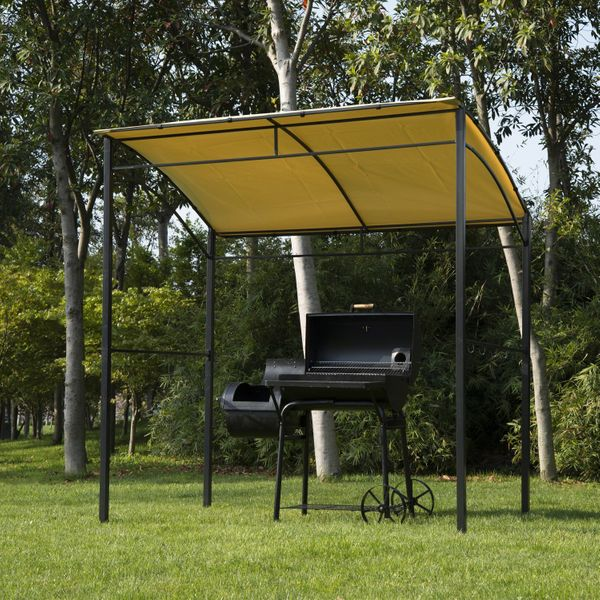 Outsunny 7'x5' BBQ Grill Gazebo Tent Garden Grill Metal Frame and Canopy w/ Hook
