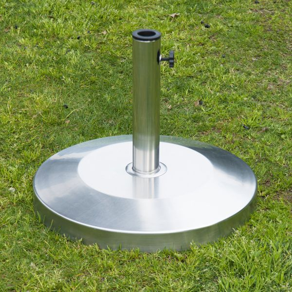 """Outsunny 19"""" Round Decorative Stainless Steel Umbrella Base Stand Holder Silver Sturdy   Aosom Canada"""