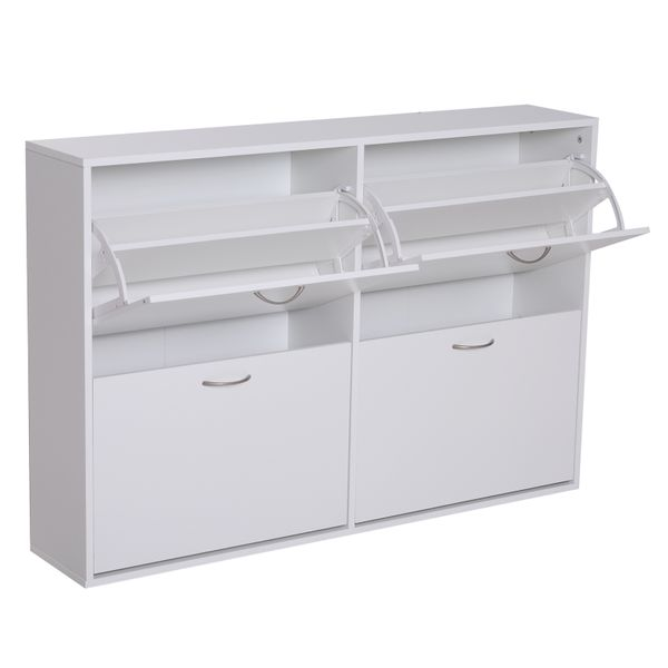 HOMCOM Flip Down Shoe Storage Multi Cabinet Wooden Shoe Shelf Rack Entryway 4 Drawer Organizer Free Standing Unit White | Aosom Canada