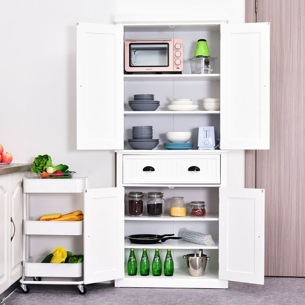 "HOMCOM 72"" Wood Kitchen Pantry Cabinet Tall  Storage Cupboard Food Organizer Shelf Home Furniture White 