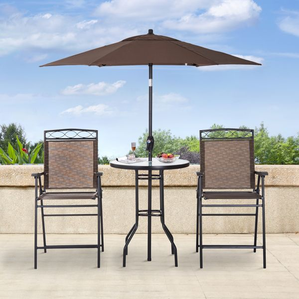Outsunny 4pcs Sling Folding Patio Dining Set Outdoor Furniture Garden Table Set Umbrella Brown|Aosom Canada