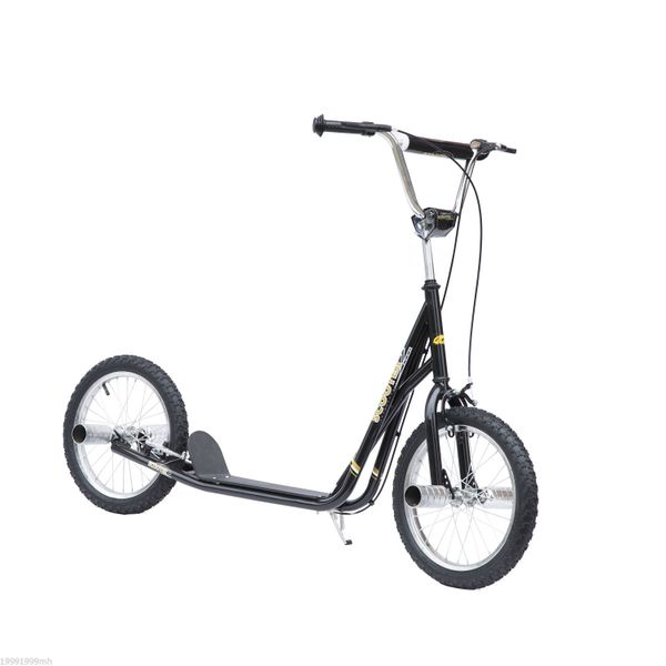 "HOMCOM Teenage Stunt Scooter Adult Teen Kids Children Kick Stunt Bike Bicycle Ride On 16"" Push Pneumatic Tyres Black
